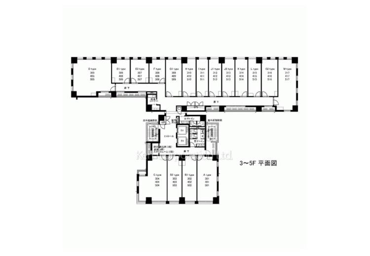 5階~3階平面図